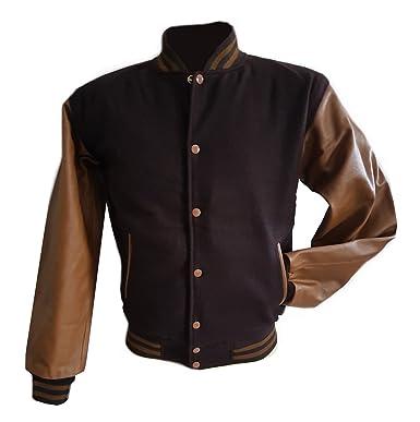 Windhound Original College Jacke braun mit braunen Echtleder Ärmel ... 521df81754