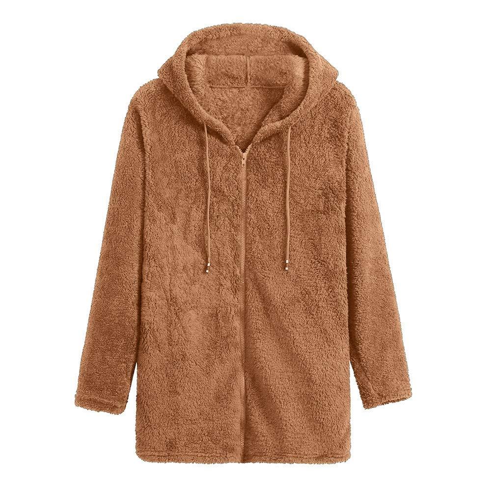 Women Fuzzy Fleece Hooded Zipper Cardigan Pocket Faux Fur Outerwear Coat CieKen