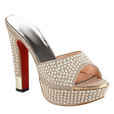 e44ace29cd2 Carolbar Women s Beaded Platform Peep Toe High Heel Party Sandals Slippers  (4.5