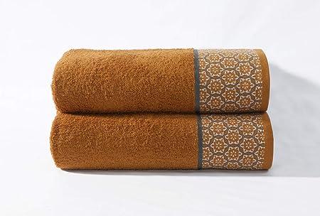 Cloe Louis - Juego de 2 toallas de baño (algodón peinado de 550 g/m², 70 x 130 cm, con borde jacquard), algodón, cobre, Toalla de baño: Amazon.es: Hogar