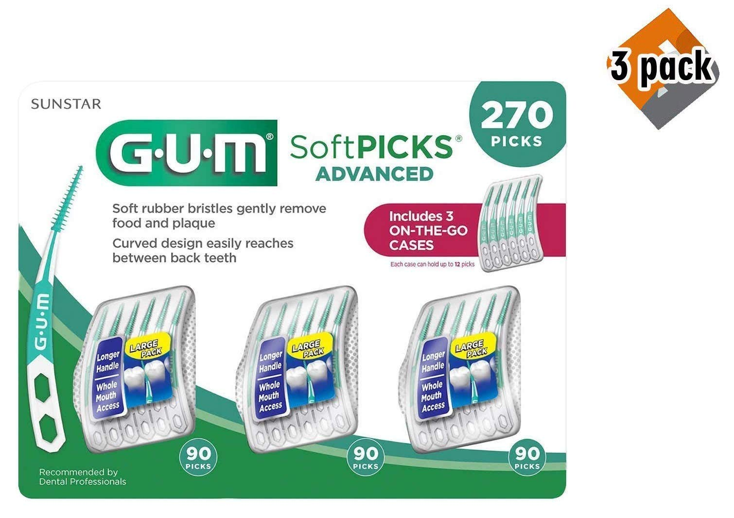 GUM Soft-Picks Advanced Dental Picks, 270 Count - 3 Pack