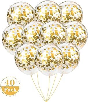 Amazon.com: Globos de confeti con lunares de oro rosa ...