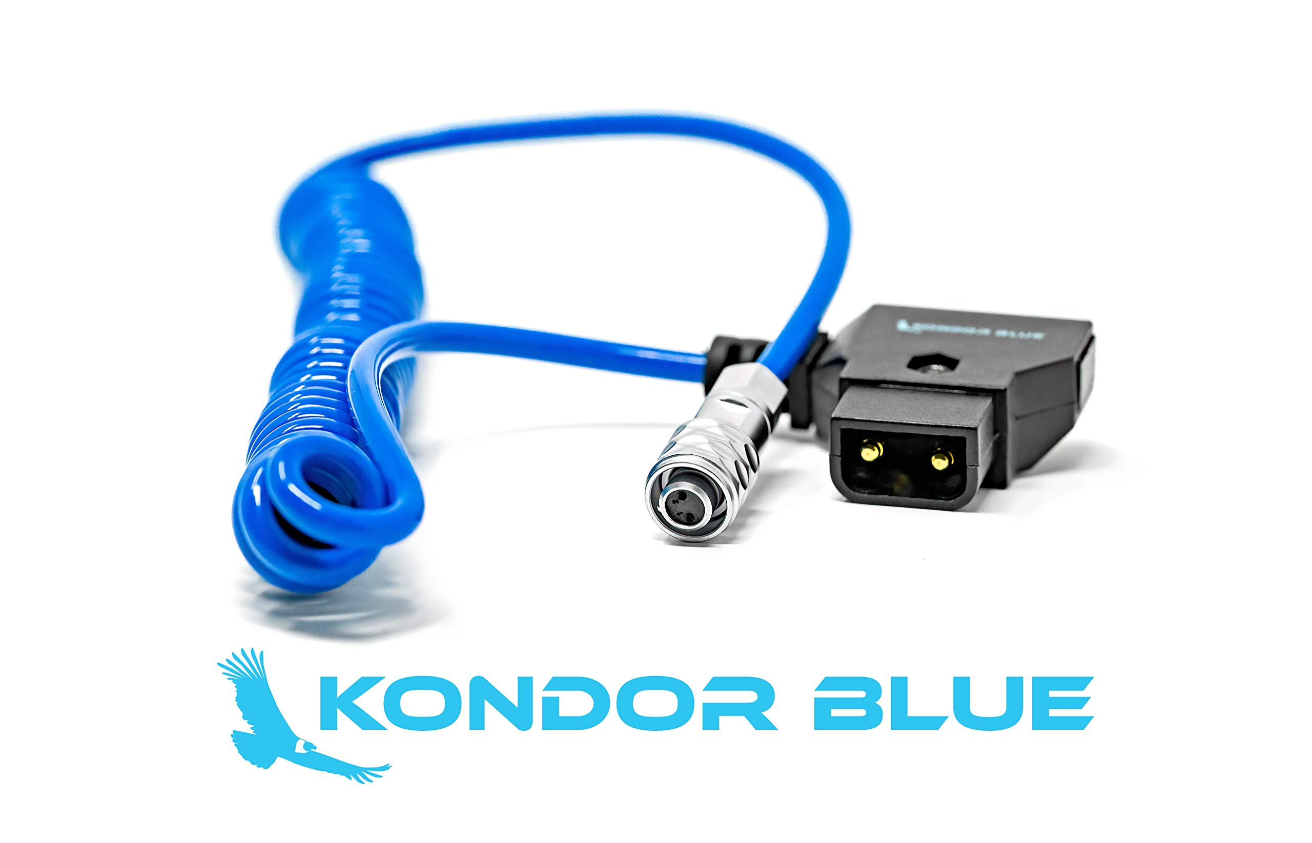 KONDOR BLUE 20'' Coiled D-Tap to BMPCC 6K/4K Weipu Power Cable for Blackmagic Pocket Cinema Camera 4K Gold Mount V Mount Battery P TAP
