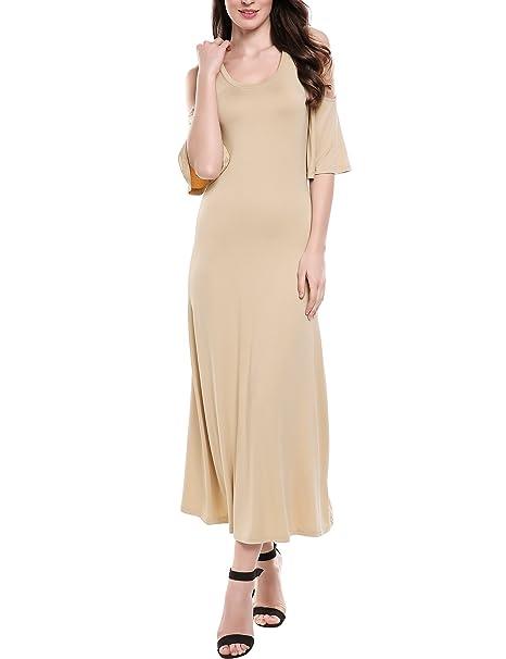 8e8deef5590b ELESOL Women s Ruffle Short Sleeve Cold Shoulder Slim Maxi Dress Coffee S
