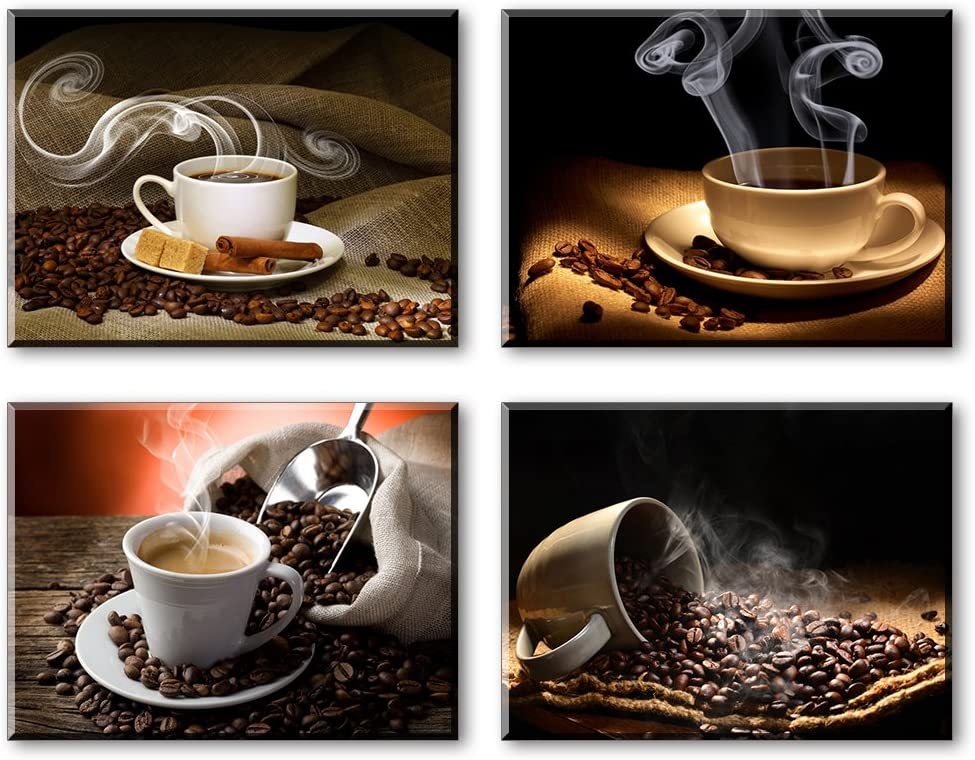 Coffee Theme Kitchen Wall Decor 4 Piece Hot Coffee Beans Picture Canvas Wall Art Contemporary Paintings Waterproof Bracket Mounted Ready To Hang Amazon Ca Home Kitchen
