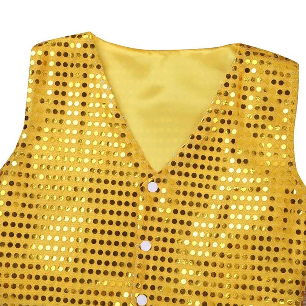 at27clekca Kids Dance VestKids Boys Girls Sequins Jazz Dance Show Vest Waistcoat Hip-Hop Costumes Silver 7-8