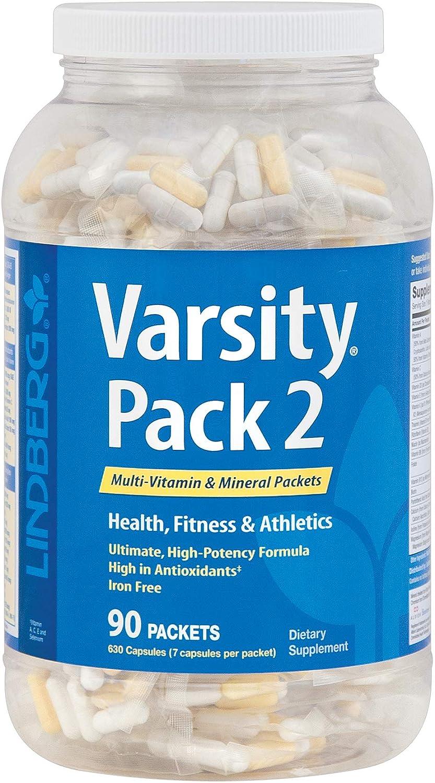 Lindberg Varsity Pack 2, 90 Multi-Vitamin and Mineral Packets with Antioxidants, Carotenoids, and More