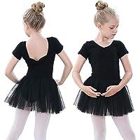 Vestido de Baile de Ballet para niñas Traje de Ballet de Leotardo gimnástico de Manga Corta con Falda de tutú