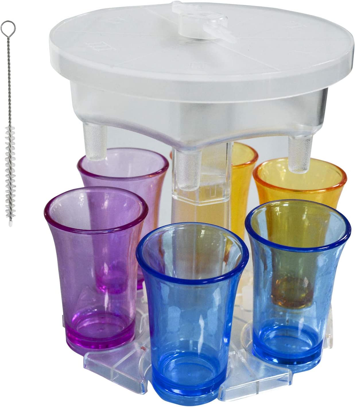 New Version 6 Shot Glass Dispenser and Holder With Game Turntable and 6 Silicone Plugs For Filling Liquids, Home Party Bar Shot Dispenser Cocktail Dispenser Carrier (Transparent/With 6 Cups)