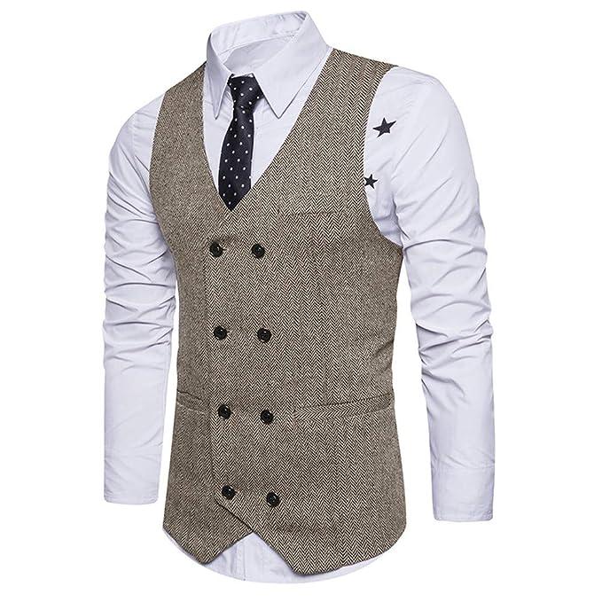 Bestow Hombres Formal Tweed Cheque Doble Breasted Chaleco Retro Slim Fit Chaqueta de Traje Traje Chaleco Chaleco a Rayas de Doble Boton: Amazon.es: Ropa y ...