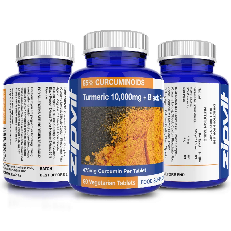 Cúrcuma Curcumina   90 comprimidos   La potencia más alta, 475mg de curcumina por comprimido   Alivio del dolor articular y la artritis   10.000mg de ...
