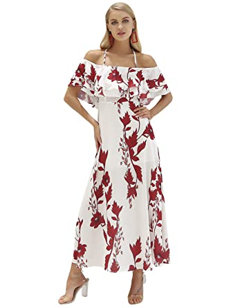 07091f4e39b Simplee Women s Sexy Halter Backless Off Shoulder Floral Chiffon Maxi Dress