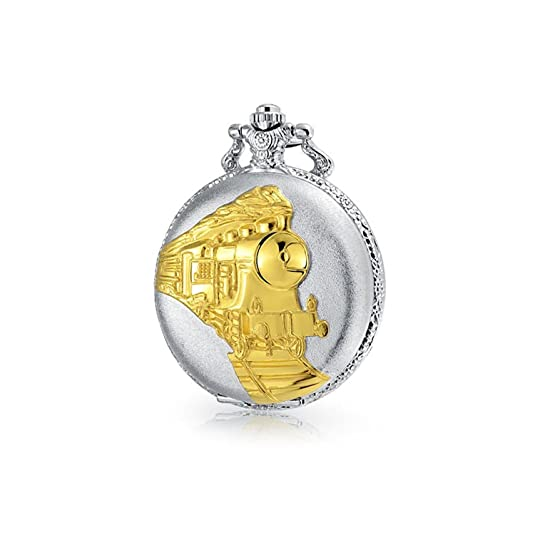 Bling Jewelry Two Tone Steam Train Railroad Roman Numerals White Dial Pocket Watch for Men Silver Plating Gold Plated Alloy with Chain