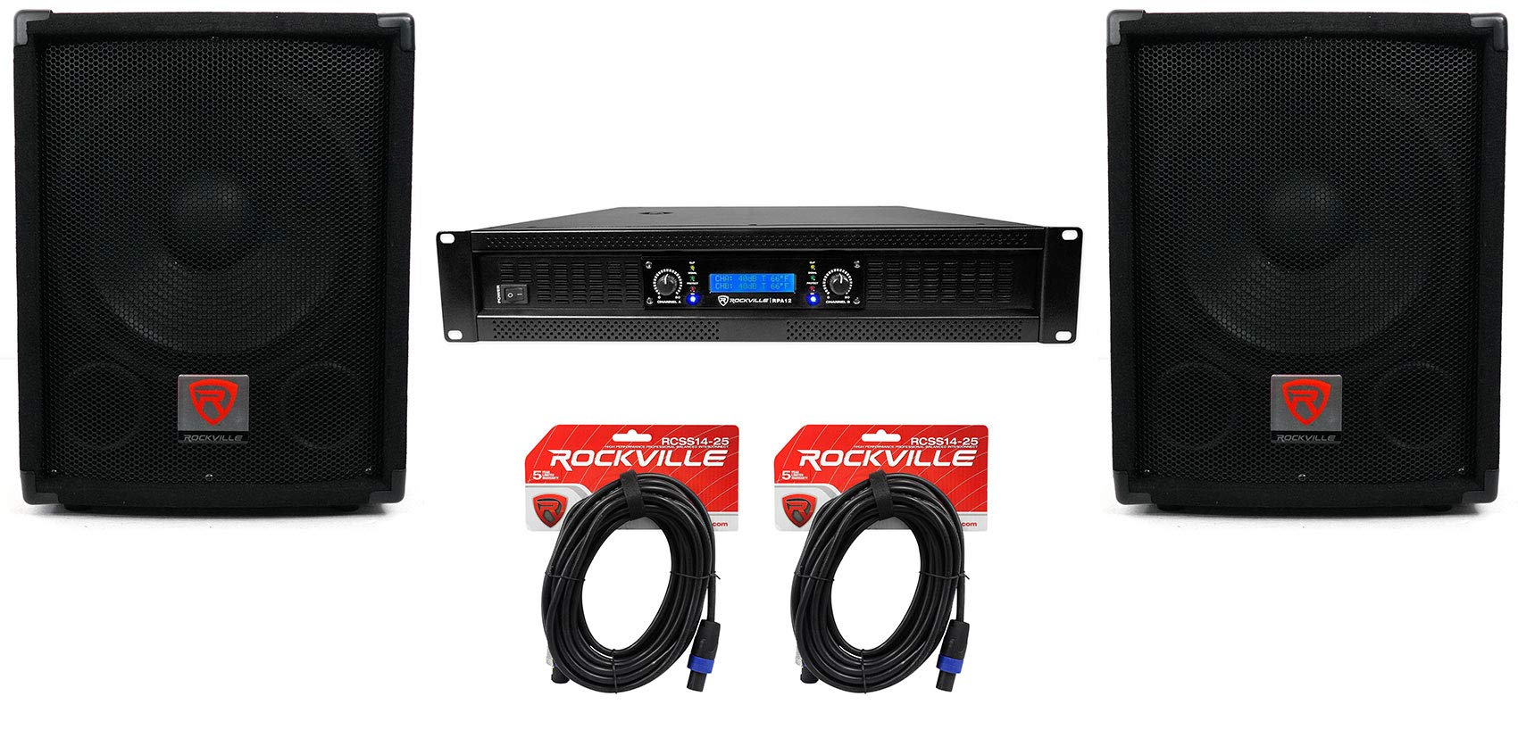 (2) Rockville SBG1128 12'' Pro DJ PA Subwoofers+5000w 2-Channel Amplifier+Cables