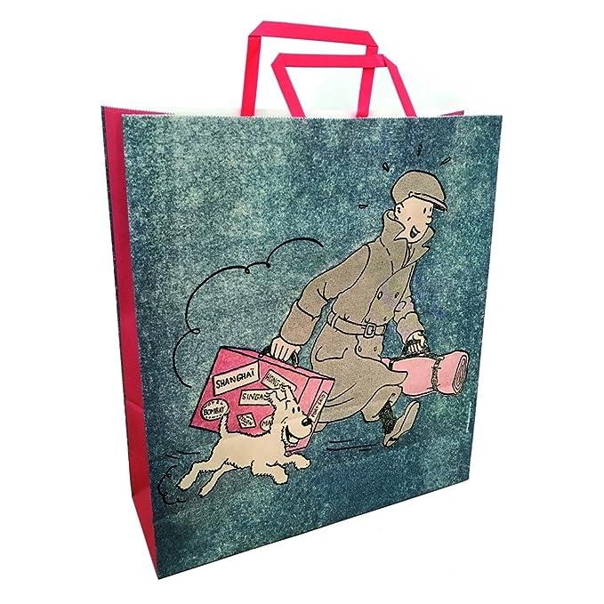 Bolsa en papel reciclado Tintín y Milú ils arrivent ...