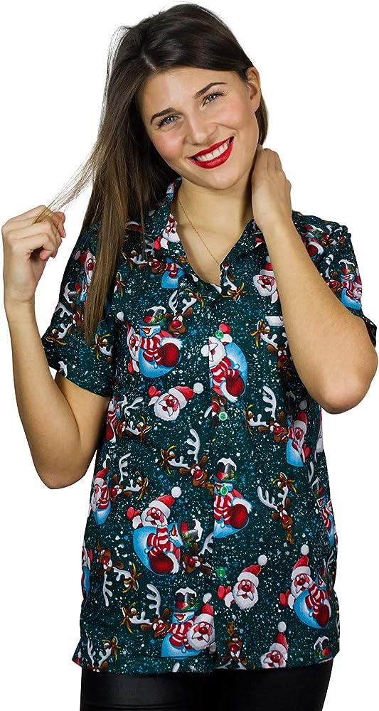 V.H.O. Funky Camisa Hawaiana, Snowflakes, Green, XS: Amazon.es: Ropa y accesorios
