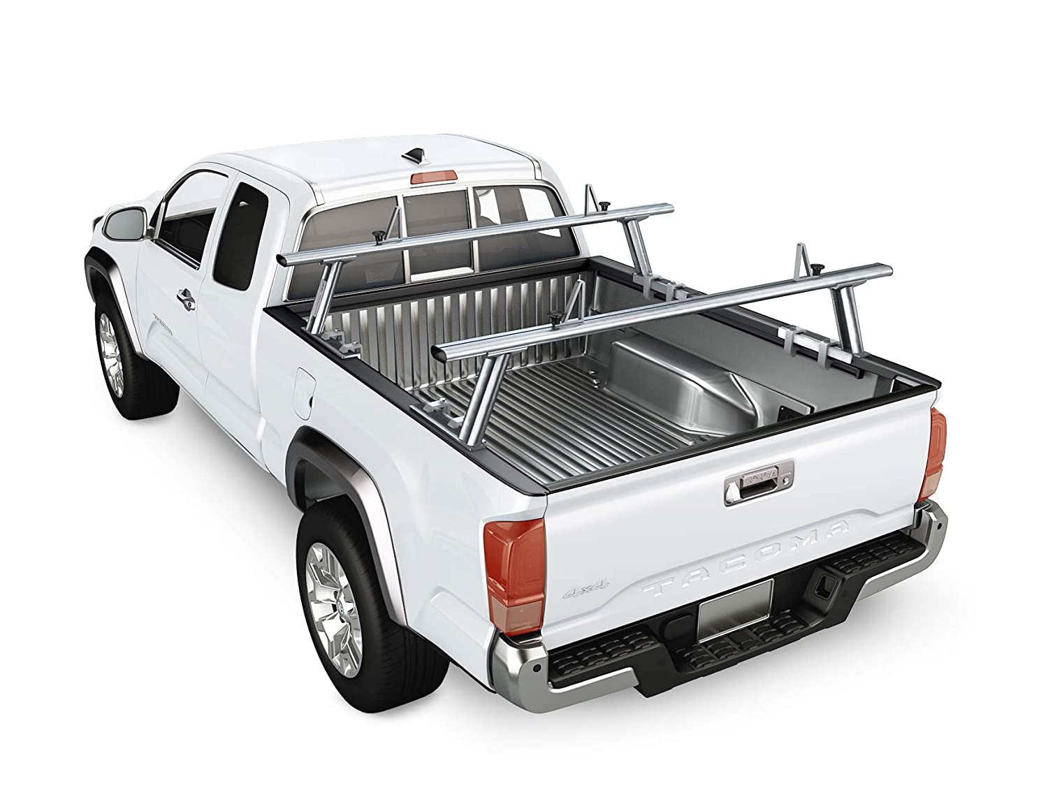 300lb On Road Capacity AA-Racks Model APX2503 Low Profile Heavy Duty Aluminum Truck Bed Rack for Trucks and Trailers with Open Rails