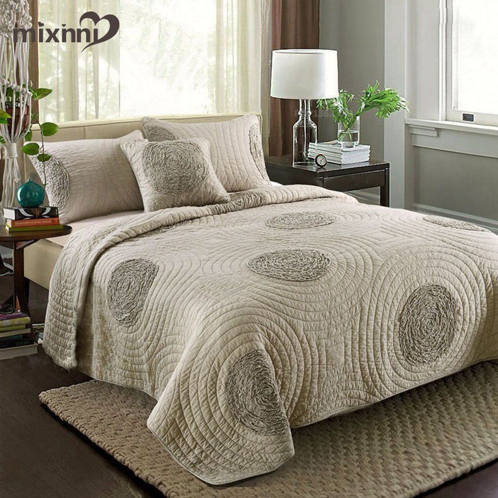 mixinni King Size Quilt Sets Grey with Shams Oversized 106'' x 96'' Classical Floral Pattern King Size Quilts and Bedspreads Cotton, Lightweight &Soft by mixinni