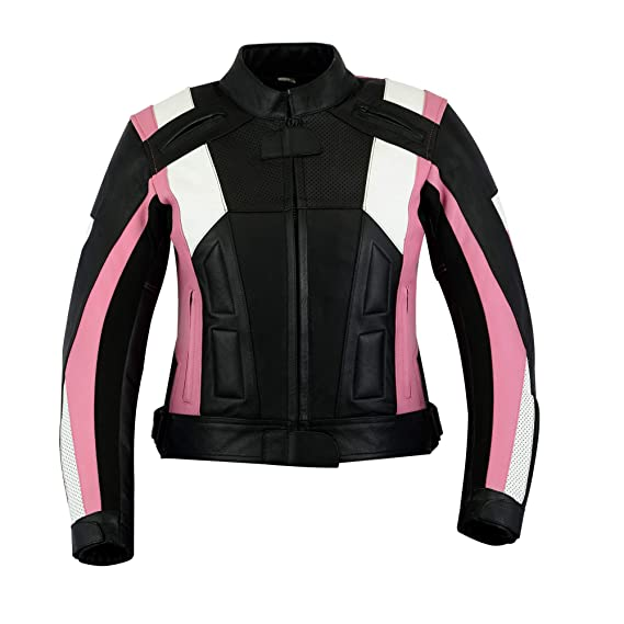 1d9c67d57 Ladies Texpeed Pink & Black Armoured Leather Motorcycle/Motorbike Jacket -  UK 10-22