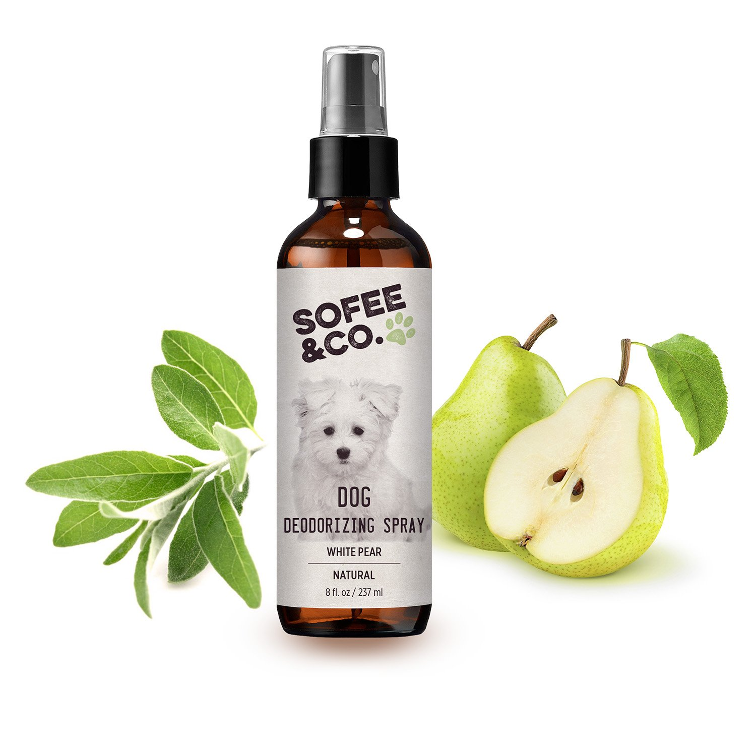 Sofee & Co. Natural Dog/Puppy Deodorizing Spray, Freshener - White Pear - Neutralizes Eliminates Odors - Pet Deodorizer, Perfume, Cologne. Use Directly On Pets, Furniture, Bedding, Carpets, Rugs.