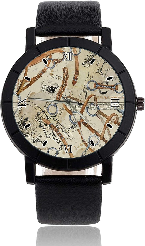 Caballo silla de montar reloj personalizado casual negro correa de cuero reloj de pulsera para hombres mujeres unisex relojes