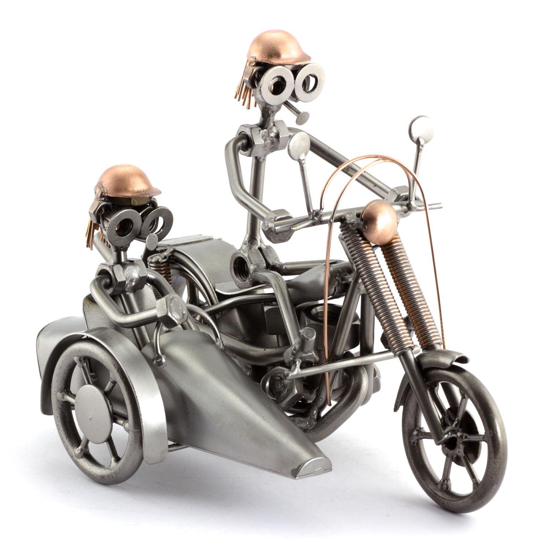 Steelman24 I Schraubenmännchen Harley Mit Beiwagen Mit Persönlicher Gravur I Made in Germany I Handarbeit I Geschenkidee I Stahlfigur I Metallfigur