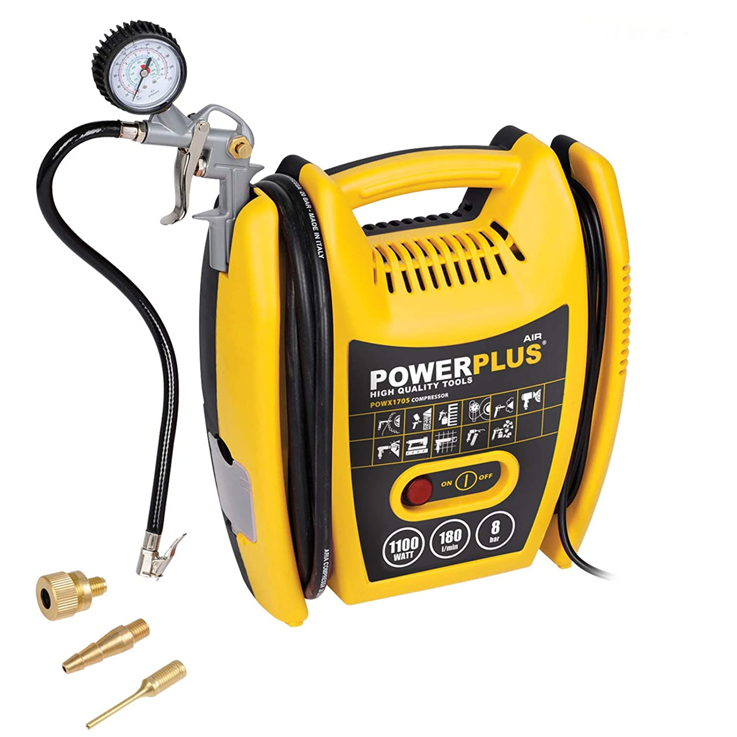 Powerplus 1.5HP, 6.33CFM, 230v, MWP 116psi, 8BAR Oil Free Air Compressor POWX1705 with Kit: Tyre Inflator, 3M Hose + Adaptors Ideal for Car/Bike, Airbed, Lilo, Football - 3 Year Home User Warranty