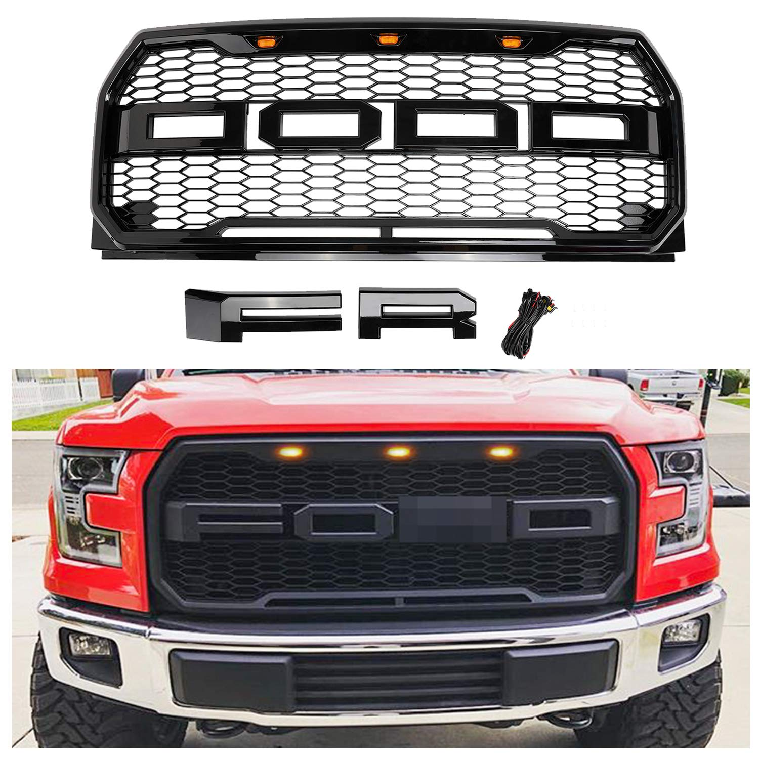 Grilles Gloss Black Front Grill for F150 2015 2016 2017 Raptor ...