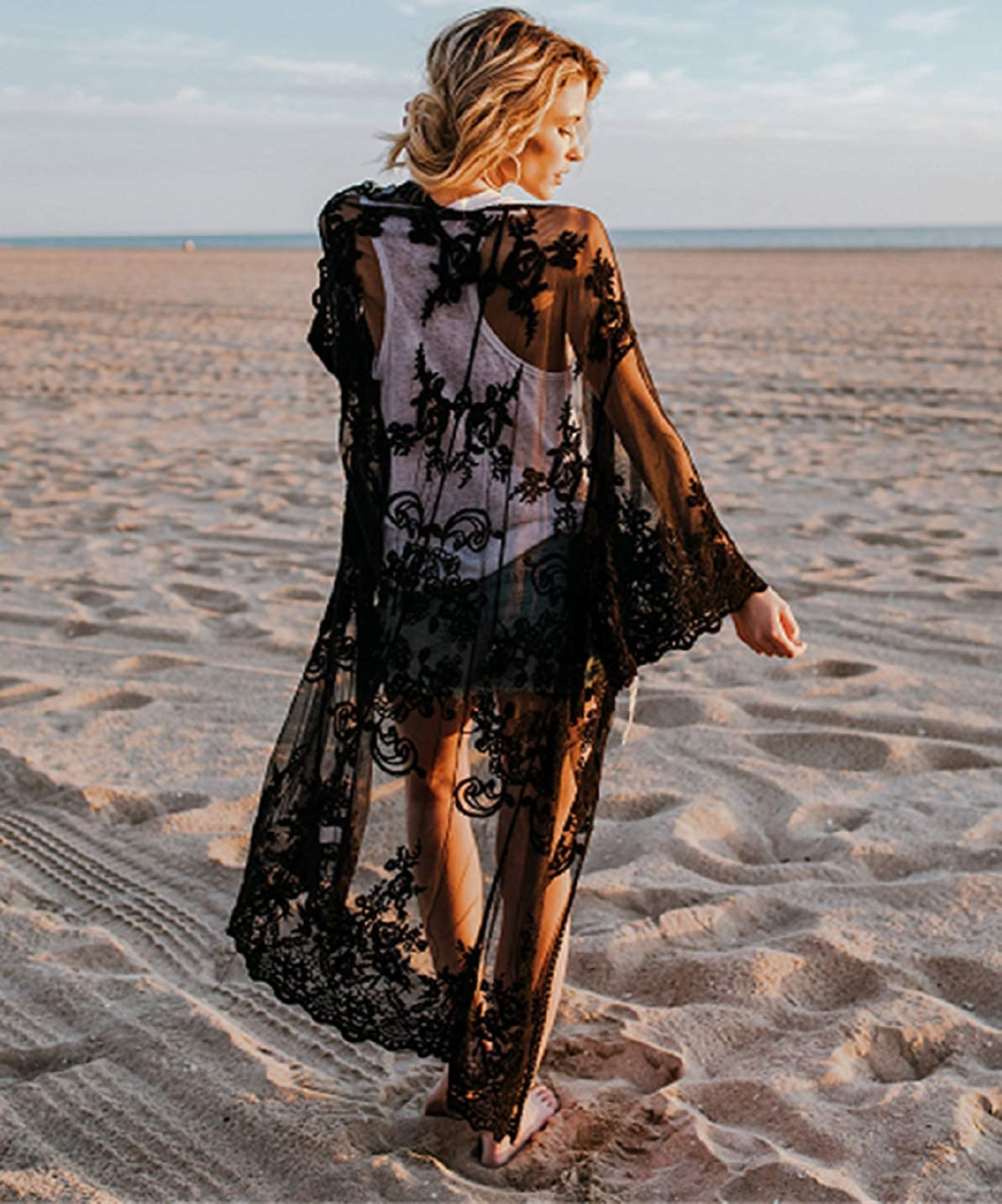 Women's Bathing Suit Kimono Beach Cover Up Lace Crochet Pool Swimwear (Black) at  Women's Clothing store