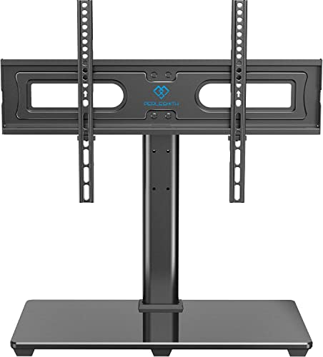PERLESMITH Universal TV Stand Table Top TV Base for 37 to 70 inch LCD LED OLED 4K Flat Screen TVs – Height Adjustable TV Mount Stand with Tempered Glass Base, VESA 600x400mm, Holds up to 99lbs