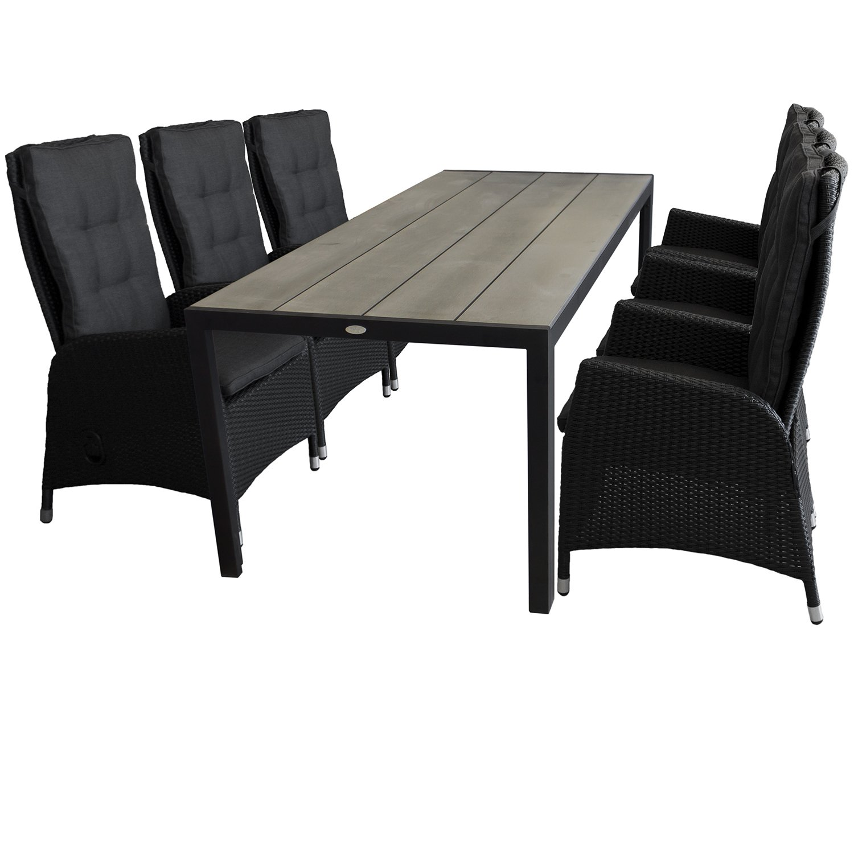 7tlg. Sitzgruppe Sitzgarnitur Gartentisch mit Polywood-Tischplatte 205x90cm Schwarz/Silbergrau 6x Sessel mit Poly-Rattangeflecht stufenlos verstellbare Lehne Schwarz Gartengarnitur