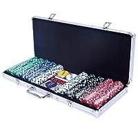 COSTWAY Set da Poker con 500 Chips, 2 Mazzi di Carte da Poker, 5 Dadi, 1 Pedina per il Dealer, Valigetta in alluminio
