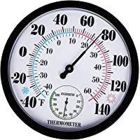 PETSOLA 9.84inch Wall Thermometer Meter Indoor Outdoor Garden Humidity Hygrometer