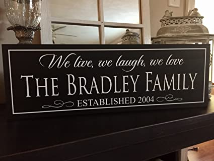 6ea3cd422676d Amazon.com: Family Name Sign Wood Family Established Sign Home ...