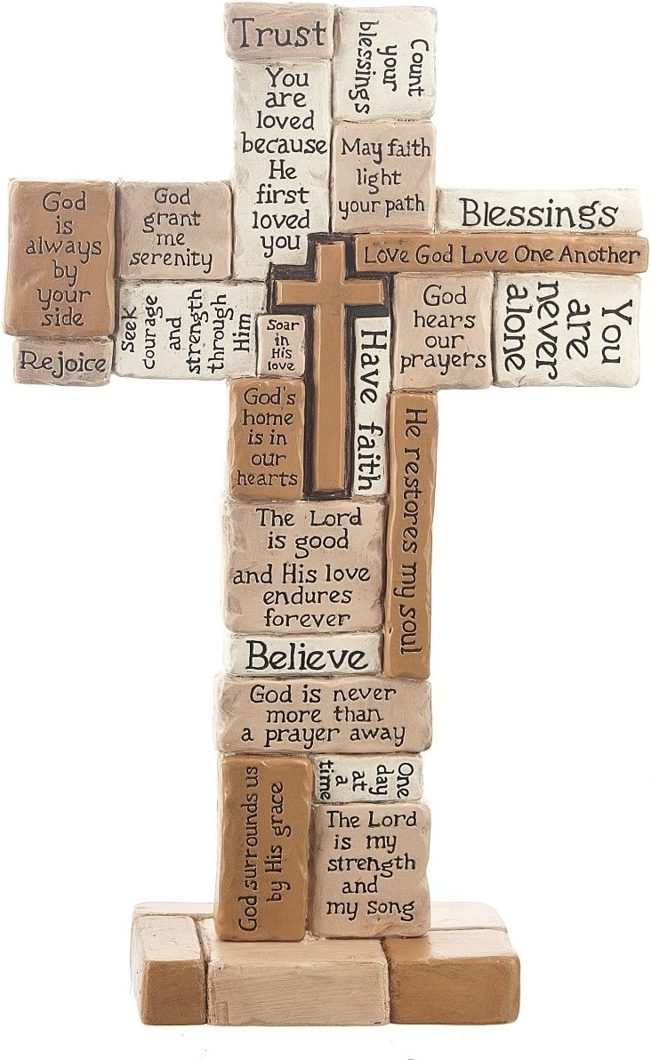 Collage 10 Inch Polystone Tabletop Cross