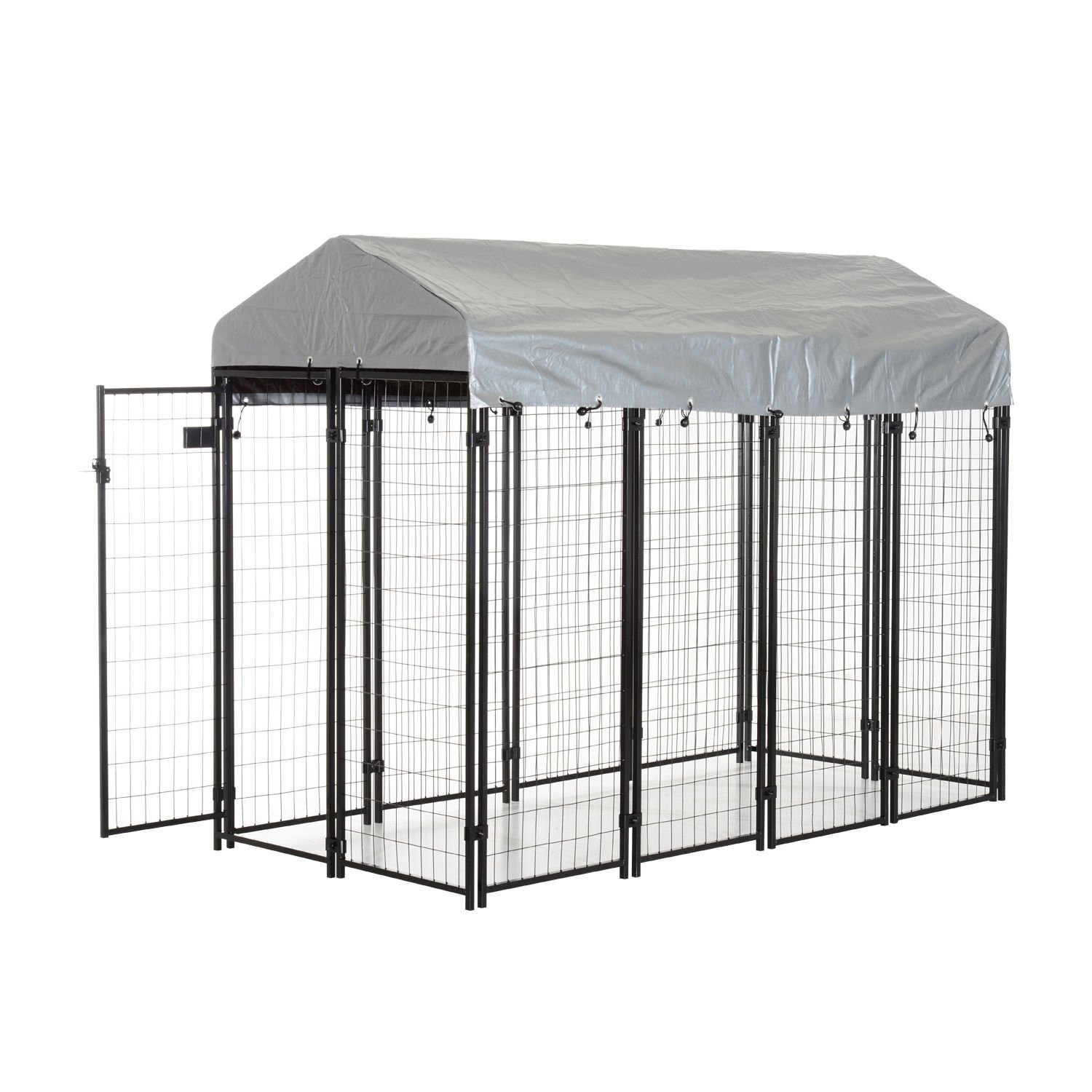 PawHut 97'' x 46'' Outdoor Galvanized Metal Dog Kennel Playpen with UV and Water Resistant Tarp Cover by PawHut (Image #2)