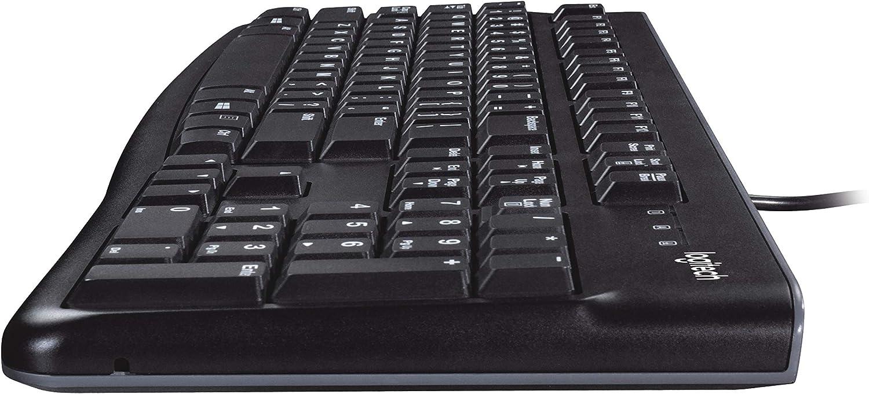 Logitech MK120 Combo Teclado y Ratón con Cable para Windows, Disposición QWERTY US Internacional, Negro