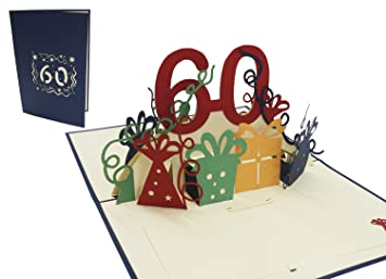 Amazon Com Lin Pop Up 3d Greeting Card For A 60th Birthday 60th