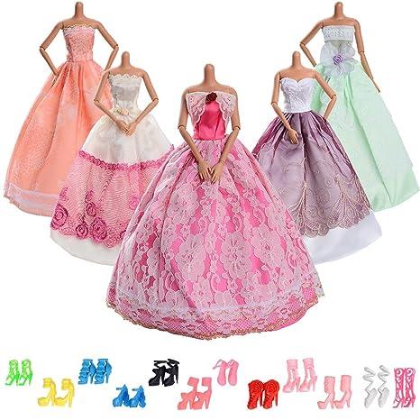 uk availability 5db38 2f4ef ASIV 5 pezzi Moda Vestito da principessa,12 paia di scarpe Abiti Festa di  matrimonio per Bambola Barbie
