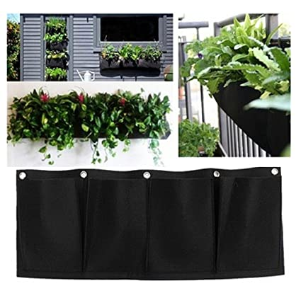 Exceptionnel Annymall Wall Mounted Horizontal Plant Grow Bag, 4 Pockets Household Felt  Storage Bag/