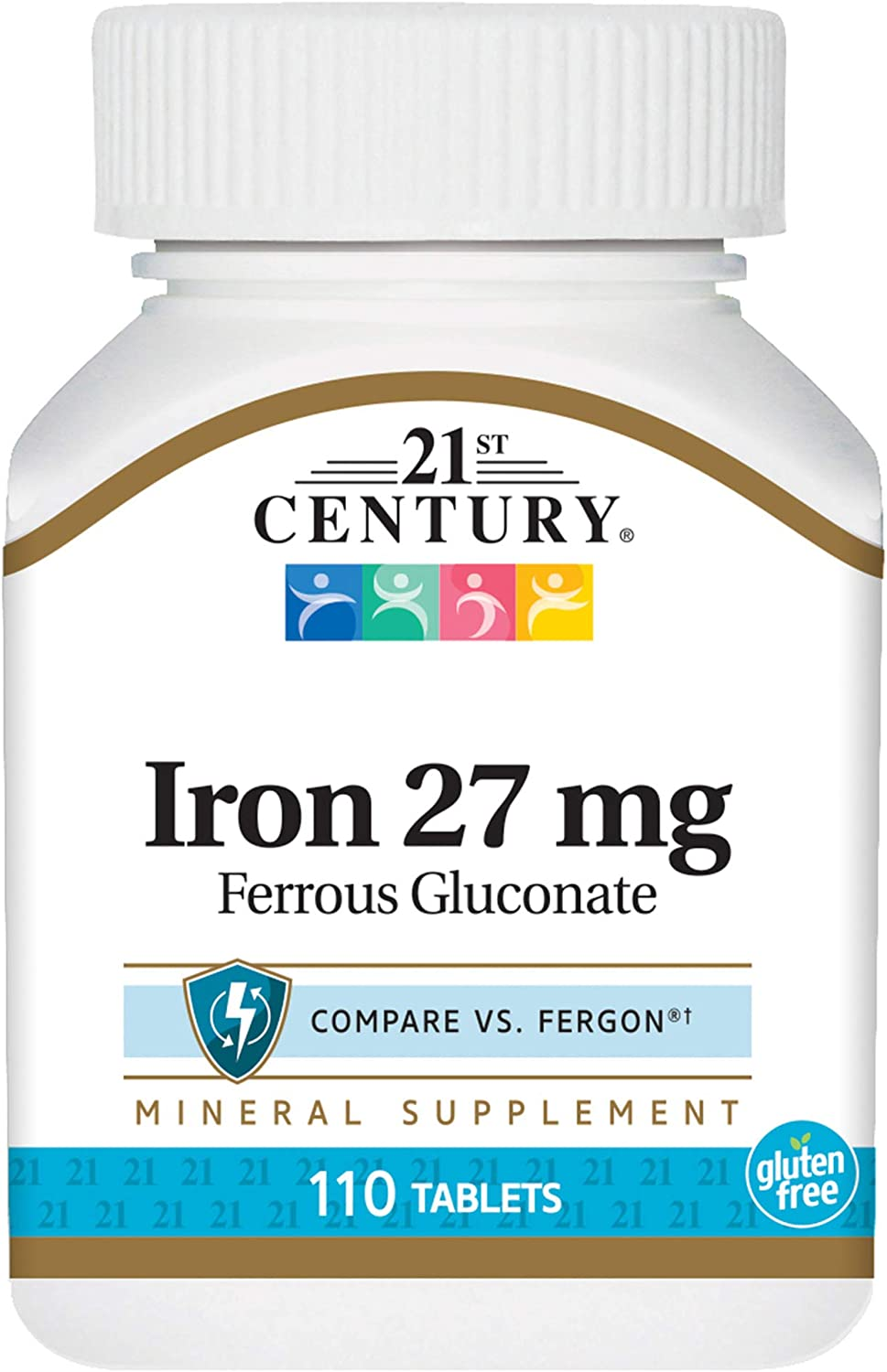 21st Century Iron 27 Mg Ferrous Gluconate Tablets, 110Count