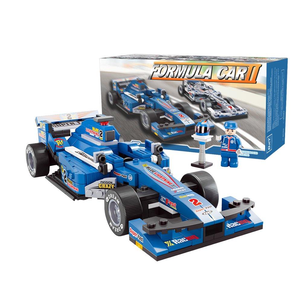 BXT Kids DIY Educational Assemble Toys Bricks Gift 1:24 Scale F1 Formula Racing Car Model 257pcs 3D Construction Building Block sets Compatible With minifigures(Blue) Baixt Group Limited