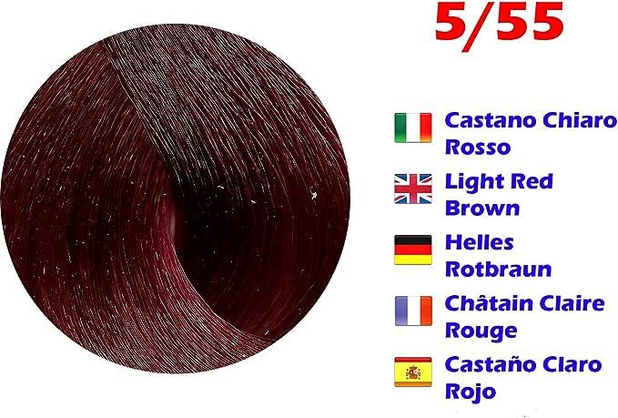Tinte de Pelo Profesional Castaño Claro Rojo Extreme con Amoníaco 5/55 Permanente 100ml Made in Italy