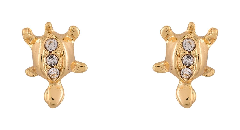 7ed12ba83 Buy Estelle 24kt Gold-Plated Spiritual Turtle with Swarovski Crystals Mini  American Diamond work Animal Stud Earring Set for Women & Girls (Gold)  Online at ...