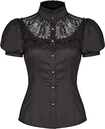Punk Rave Mujer Steampunk Top Blusa Negro Rojo Encaje Vintage Gótico Victoriano Camisa - Negro, XXL - UK Womens Size 16: Amazon.es: Ropa y accesorios