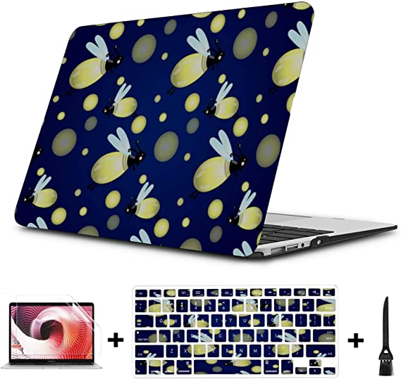 MacBook 13 Cover Shiny Night Romantic Insects Firefly Plastic Hard Shell Compatible Mac Air 11 Pro 13 15 MacBook Air Accessories Protection for MacBook 2016-2019 Version