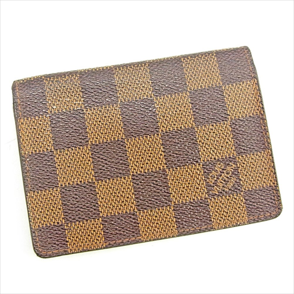 (ルイ ヴィトン) Louis Vuitton 定期入れ パスケース エベヌ(ブラウン系) ポルト2カルトヴェルティカル ダミエ メンズ可 中古 T1233   B0772TNK5G