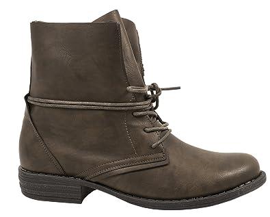 Elara Damen Stiefelette   Biker Boots   Trendy Lederoptik   Chunkyrayan  H23-1-Gruen f604728719