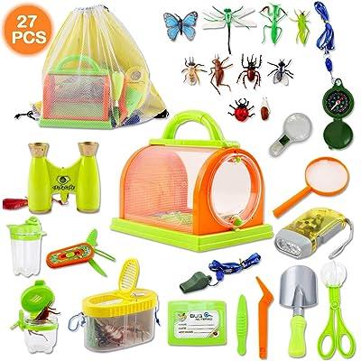 deAO Juego de Exploración Conjunto de Aventurero Incluye Mochila, Kit Atrapa Insectos y Accesorios Actividad Infantil de Ciencias Naturales (26 Piezas): Juguetes y juegos