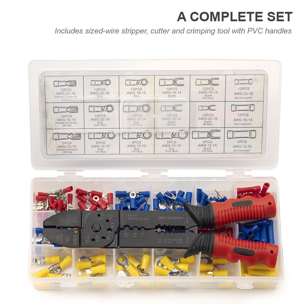 Neiko 50413A Insulated Wire Terminals and Connectors Assortment with ...